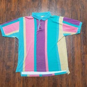 Vintage 90s Sick Color Blacking Polo